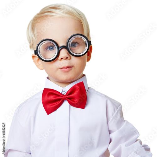 canvas print picture Portrait von einem Kind mit Brille und Fliege