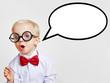 Leinwanddruck Bild - Kind als Professor mit leerer Sprechblase