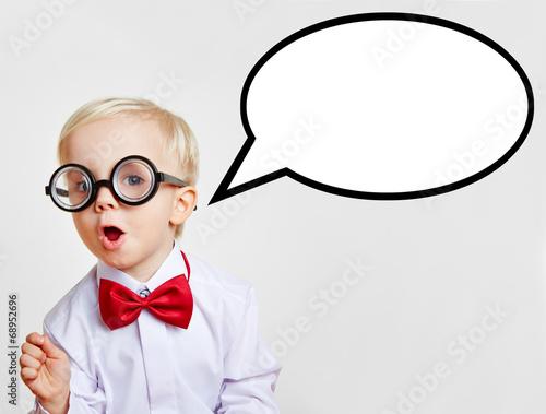 Leinwanddruck Bild Kind als Professor mit leerer Sprechblase