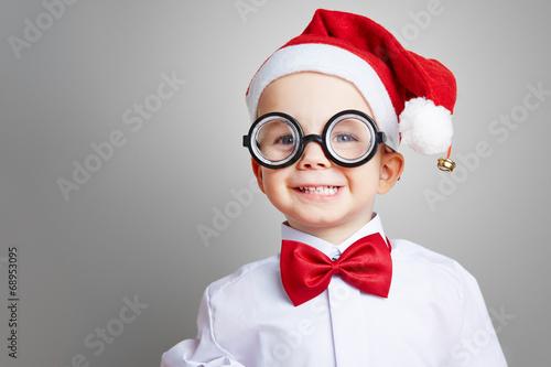 canvas print picture Kind mit Brille zu Weihnachten