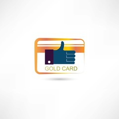 thumb up golden card