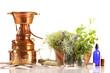Leinwanddruck Bild - Destille zur Öl- und Hydrolatgewinnung