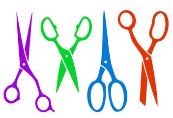 set colorful four scissors