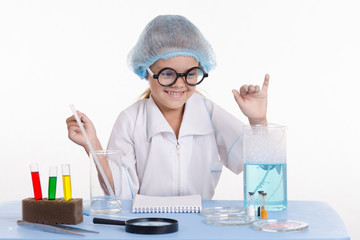 Girl chemist rejoices successful experience