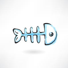 fish bone grunge icon