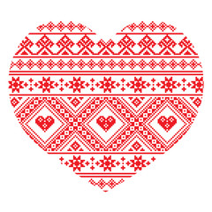 Traditional Ukrainian folk art heart knitted red pattern