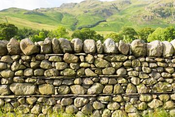 Dry stone wall no mortar Lake District Cumbria uk