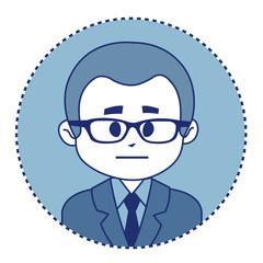 Character financier in suit with tie