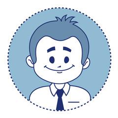 Character smiling clerk