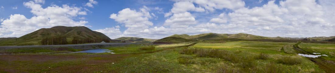 Landscape of Spring Steppe and Hills