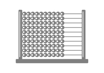 Grey abacus icon on white background