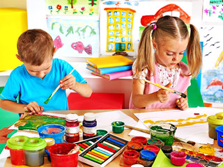 Children  boy and girl  painting.