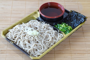 Japanese soba noodles made from buckwheat flour