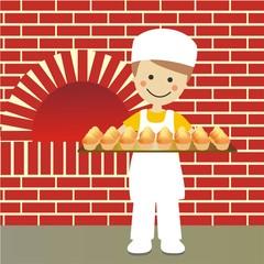 Panadero con bandeja de magadalenas con fondo