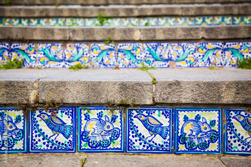 close-up ceramic tiles on the steps