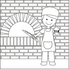 Panadero con pan y magdalena líneas con fondo