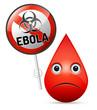 The sad drop of blood with yellow Ebola virus, biohazard warning