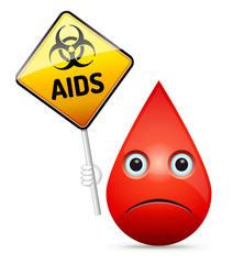 The sad drop of blood with yellow AIDS virus, biohazard warning