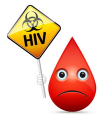 The sad drop of blood with yellow HIV virus, biohazard warning s