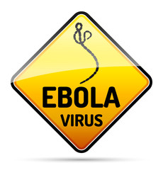 Ebola virus warning sign with reflect and shadow on white backgr