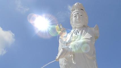 Guan Yin Statue On Nice Sky And Lighting Effect