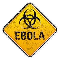 Grunge Ebola virus biohazard warning sign - isolated vector