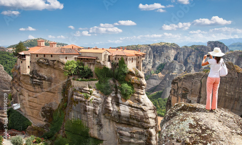 Leinwanddruck Bild View on Meteora in Trikala, Greece.