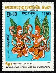 Postage stamp Cambodia 1983 Two Winged Figures
