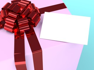 pink gift box and card