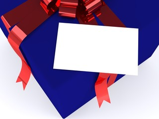 blue gift box with red ribbon and gift card