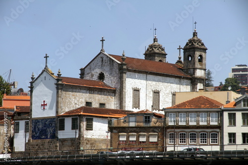 canvas print picture Church in the banks of the Douro river, Porto, Portugal