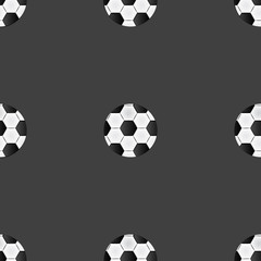 Soccer ball web icon. flat design. Seamless gray pattern.