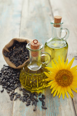 Sunflower oil in bottles