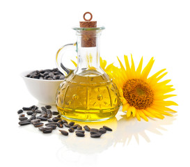 Sunflower oil in bottle