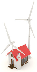 3D wind turbine providing clean energy for a little house in top