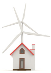 3D wind turbine providing clean energy for a little house in fro
