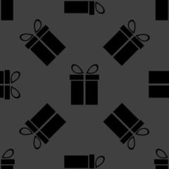 gift web icon. flat design. Seamless gray pattern.