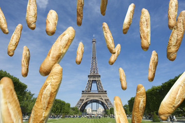 French Baguettes Flying at Eiffel Tower Paris France