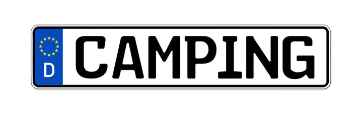 Nummernschild mit Camping