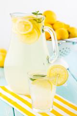 Fresh homemade lemonade.  Shallow depth of field.