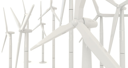 3D wind turbine for clean energy in white background in side ang