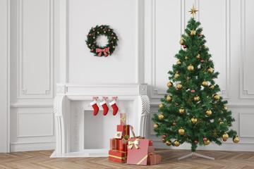 Weihnachtsbaum mit Geschenken neben Kamin zu Weihnachten
