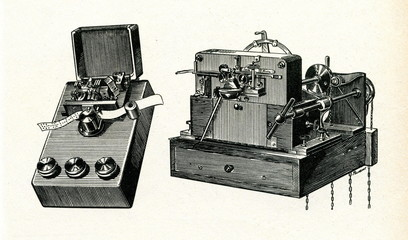 Wheatstone telegraph perforator and and receiver, 1858