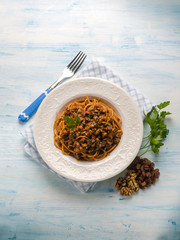 spaghetti with tomato nuts and dried grape, hungarian recipe