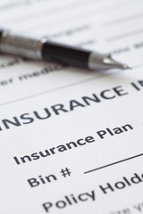 Close - up at detail of health insurance form