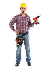 Carpenter with red drill