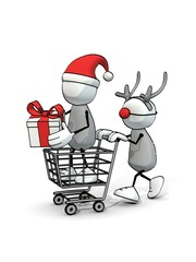 little sketchy man with santa hat in a cart and Rudolph reindeer