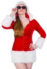 Cool santa girl wearing sunglasses