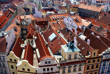 Red roofs of the traditional houses, in Prague