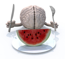brain with hands, fork and knife in front of a watermelon slice